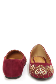 City Classified Cathy Burgundy Embroidered and Studded Flats at Lulus.com!