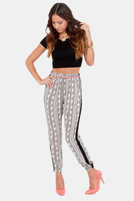 Glamor Time Black and Cream Print Pants at Lulus.com!