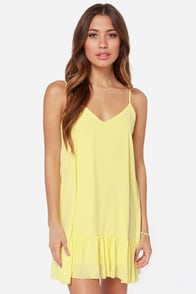 Let It Flow Silky Yellow Dress at Lulus.com!