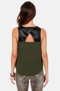 BB Dakota by Jack Rodas Army Green Top at Lulus.com!