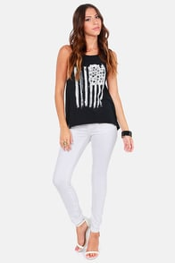 Roxy Flagged Black Tank Top at Lulus.com!