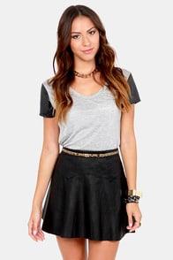 Dark Star Black Vegan Leather Skirt at Lulus.com!