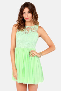 My Cherie Amour Mint Green Lace Dress at Lulus.com!
