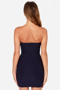 Rolling in the Deep V Navy Blue Strapless Dress at Lulus.com!
