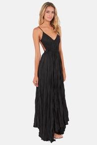 Snowy Meadow Crocheted Black Maxi Dress