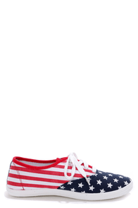 Wild Diva Lounge Marsden 01E Flag Print Canvas Lace-Up Sneakers at Lulus.com!