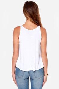 Laundry Room Sixties Chixxx White Tank Top at Lulus.com!