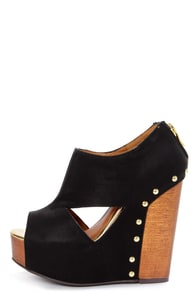 Chinese Laundry Jam Session Black Cutout Platform Wedges at Lulus.com!