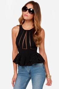 Practical Magic Black Peplum Top at Lulus.com!