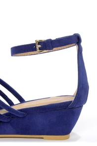 C Label Coco 3 Blue Strappy Sliver Wedge Sandals at Lulus.com!