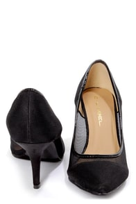 C Label Obey 8 Black Satin and Mesh Pointed Pumps at Lulus.com!