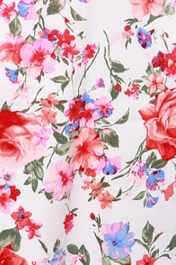 LULUS Exclusive There She Rose Coral Floral Print Dress at Lulus.com!