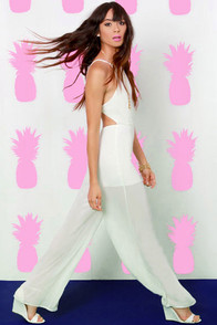 Livin' Large Backless Ivory Jumpsuit at Lulus.com!