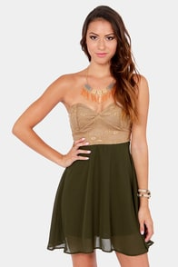 Ta-ra-ra Bustier! Brown and Olive Green Dress at Lulus.com!