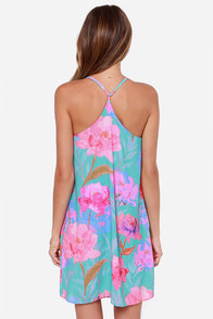 Solar Express Mint Floral Print Dress at Lulus.com!