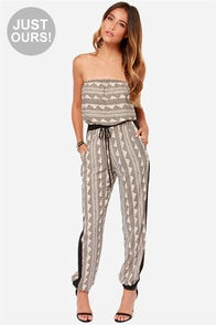 LULUS Exclusive Need I Say More? Strapless Black Print Jumpsuit