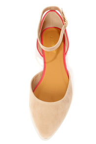 Bamboo Object 02 Nude and Coral D'Orsay Pointed Flats at Lulus.com!
