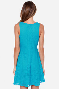 More Than A Feeling Turquoise Lace Dress at Lulus.com!