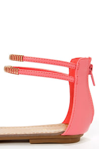 Bamboo Haile 01 Coral and Gold Strappy Gladiator Sandals at Lulus.com!