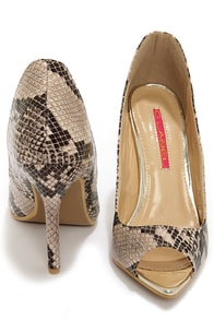 C Label Luxe 19 Beige and Black Snakeskin Peep Toe Pumps at Lulus.com!