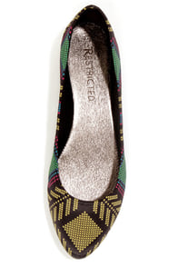 Restricted Loris Yellow Print Satin Pointed Flats at Lulus.com!
