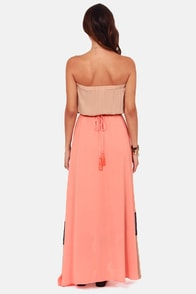 Height For Sore Eyes Beige and Peach Maxi Dress at Lulus.com!