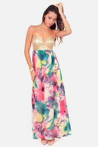 Reverse Glamster's Paradise Sequin and Floral Print Maxi Dress at Lulus.com!