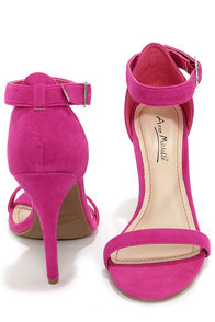 Anne Michelle Enzo 01N Magenta Suede Single Strap Heels at Lulus.com!
