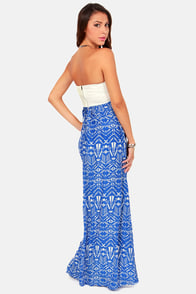 Reverse Fit to be Tide Blue Print Maxi Dress at Lulus.com!