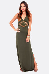 Lifelong Love Olive Green Halter Maxi Dress at Lulus.com!