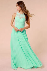 LULUS x Bariano Best of Both Whirleds Mint Green Lace Maxi Dress