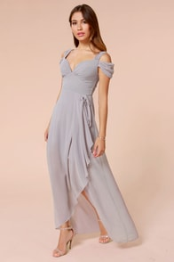 LULUS Exclusive Candied Petals Grey Maxi Dress