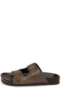 Soda Jagger Taupe Buckled Slide Sandals at Lulus.com!