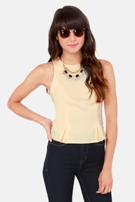 Zip Shape Sleeveless Cream Top at Lulus.com!