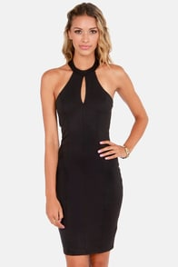 Meet Me at the Halter Black Halter Dress at Lulus.com!