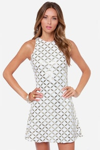 Dress the Population Mia Ivory and Gold Sequin Dress at Lulus.com!
