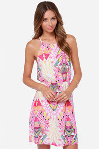 True Reflections Pink Print Dress at Lulus.com!