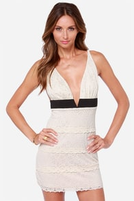 Can't Fight It Backless Cream Lace Dress at Lulus.com!