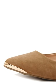 Mixx Shuz Ian 02 Sand Gold-Tipped Pointed Flats at Lulus.com!