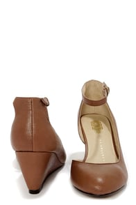 Envy Billie Tan Round Toe D'Orsay Wedge Heels at Lulus.com!