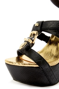 Privileged Victory Black Croc and Gold Belted Platform Heels at Lulus.com!