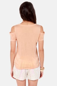 Volcom Keepin' It Cool Peach Tee at Lulus.com!