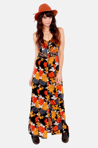 Volcom Take Me Home Black Floral Print Maxi Dress at Lulus.com!