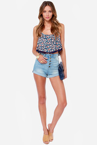 Compass Rose Navy Blue Floral Crop Top at Lulus.com!