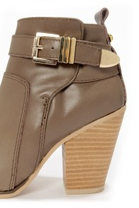 Report Osprey Taupe Belted High Heel Ankle Boots at Lulus.com!