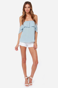LULUS Exclusive Flutter You Doing? Off-the-Shoulder Blue Top at Lulus.com!