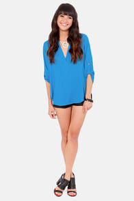 V-sionary Ocean Blue Top at Lulus.com!