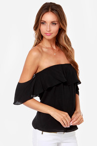 Flutter You Doing? Off-the-Shoulder Black Top at Lulus.com!