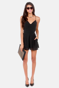 Sealed With a Kiss Backless Black Romper at Lulus.com!