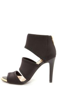Jessica Simpson Elsbeth Black Scuba Peep Toe Sandals at Lulus.com!